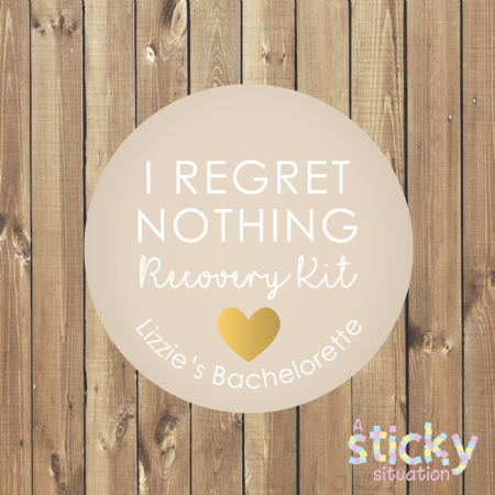 Personalised 'I Regret Nothing' Recovery Kit Stickers